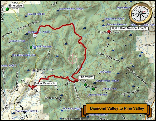 Pine Valley Mnts. Topo Map