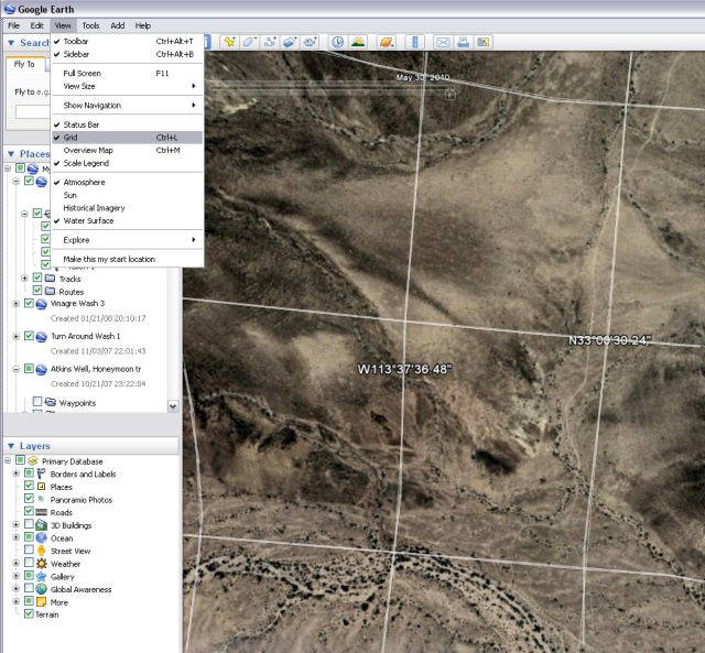 how to get longitude and latitude from google earth