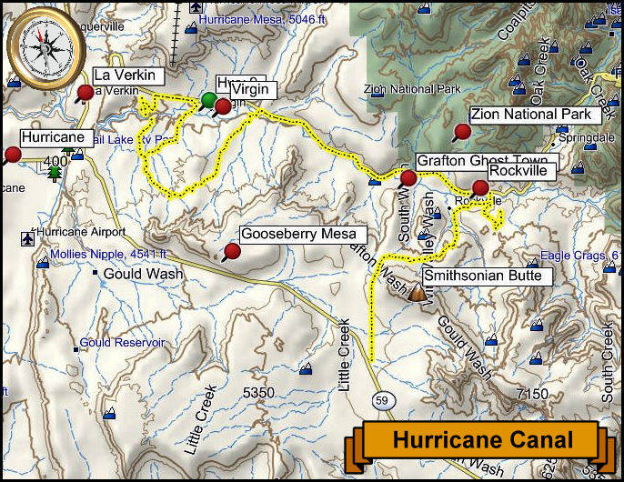 Hurricane Canal Topography Map