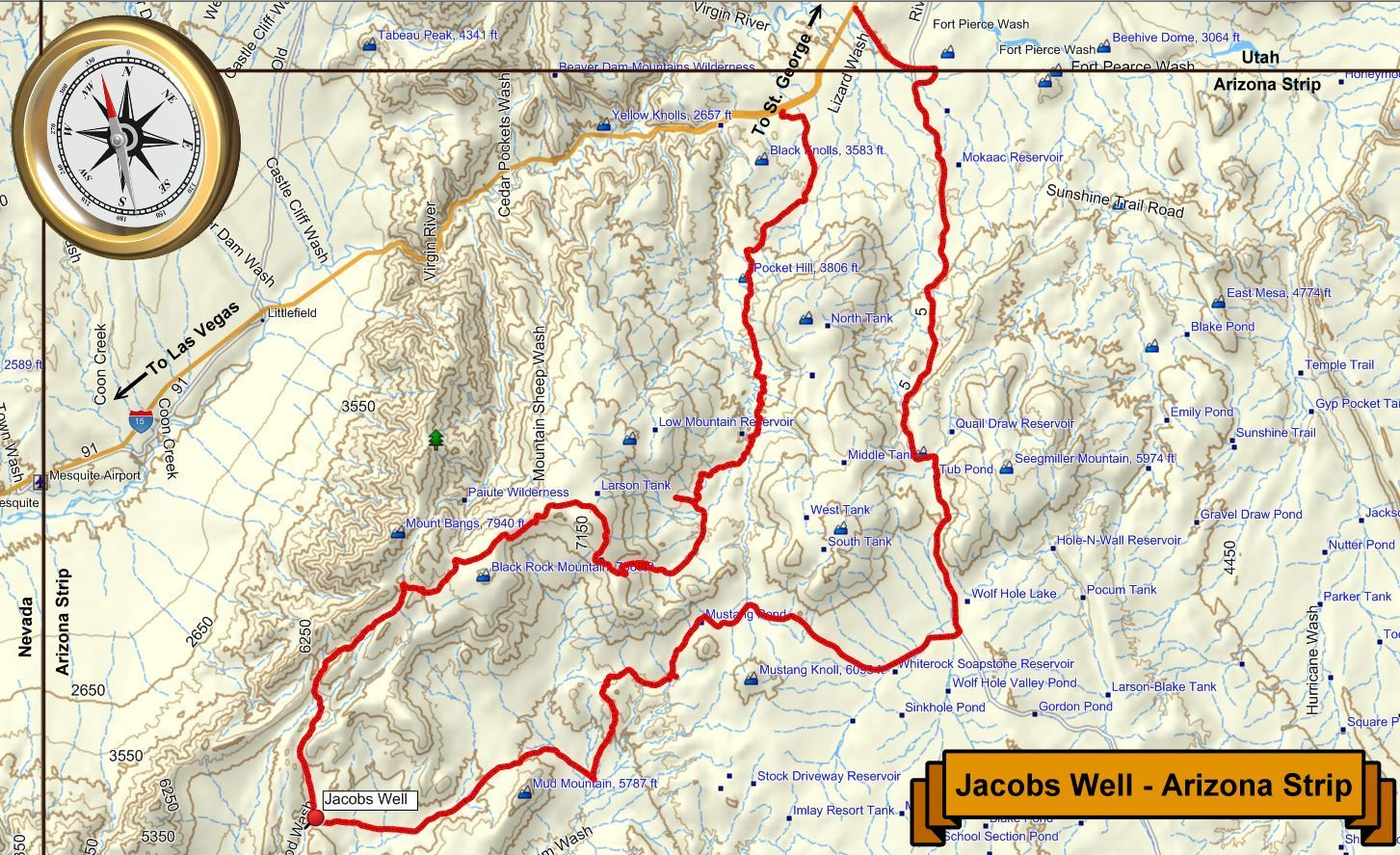 Map Of Arizona Strip.Off Road Trip To Jacobs Well And Other Sites In The Arizona Strip