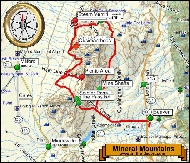 Mineral Mountains Topography Map