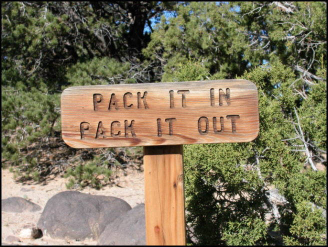 Pack it out sign