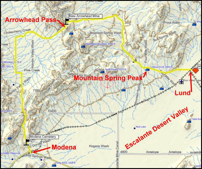 In the Desert Arrowhead Pass Lund to Modena Utah Topography Map