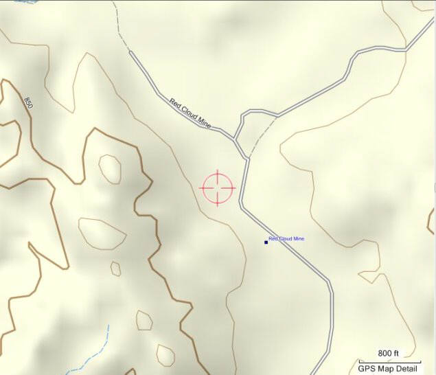 Red Cloud Gold Mine topo map