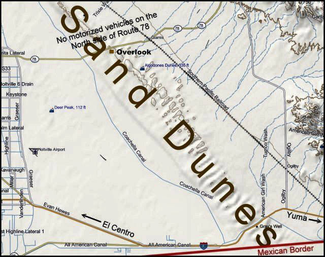 Sand Dunes Map, Southern Californis