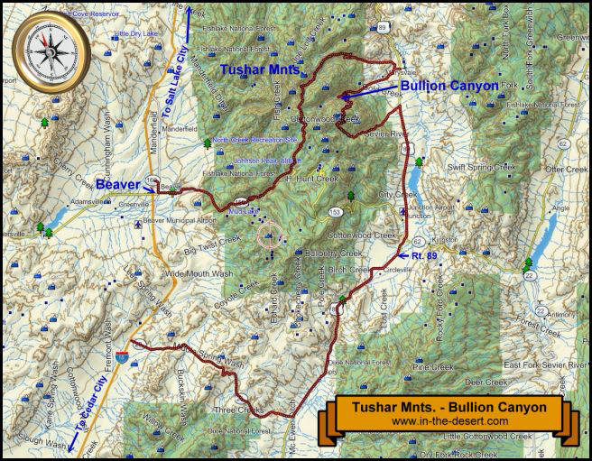 Tushar Mnts. Topography Map