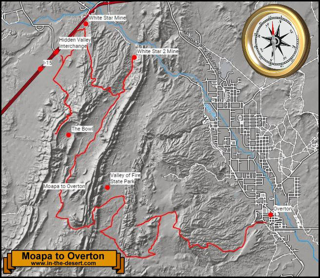 Moapa to Overton Topography Map